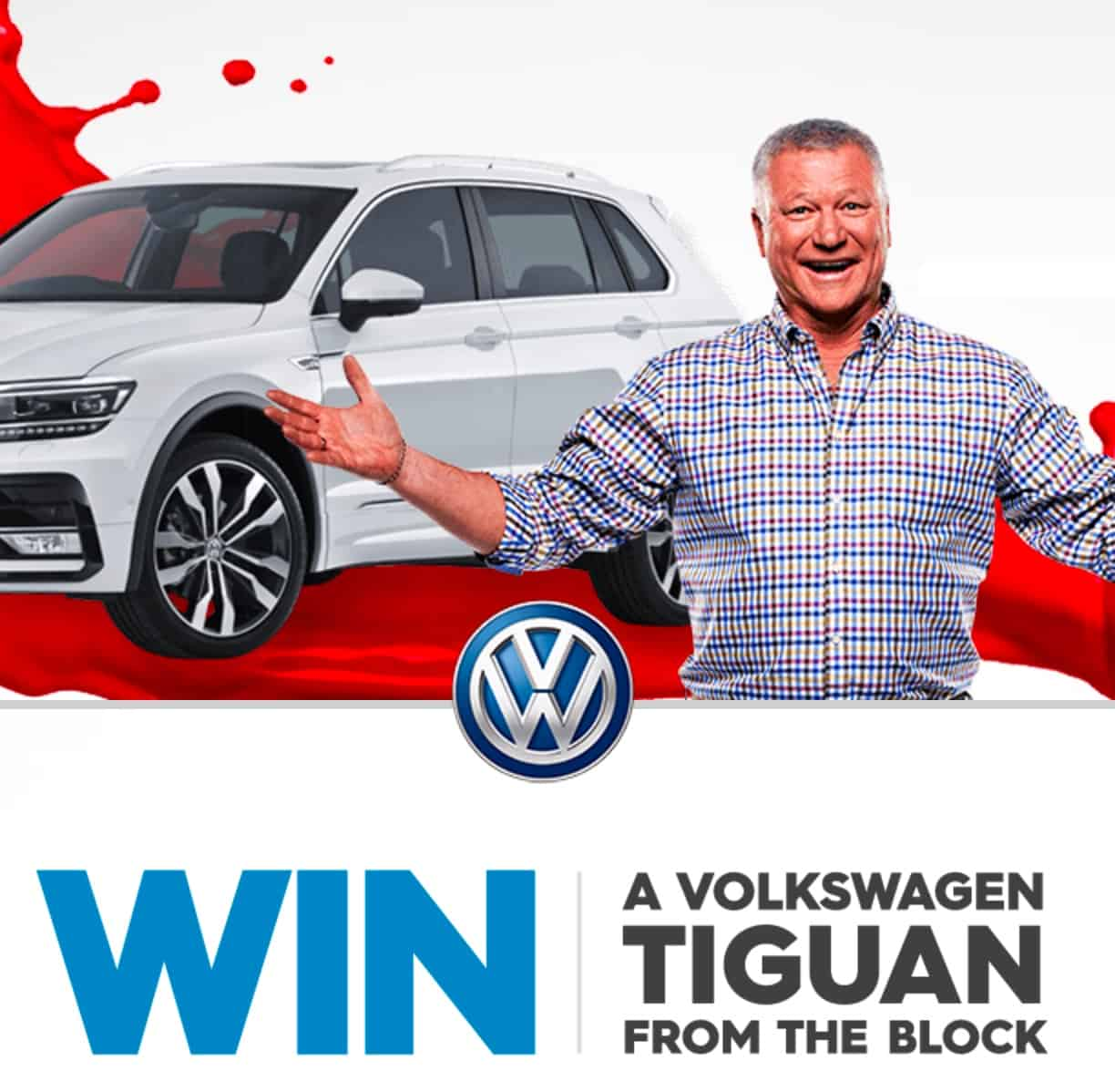 The block competition win a vw with the code word 2017 for Living room channel 10 competition